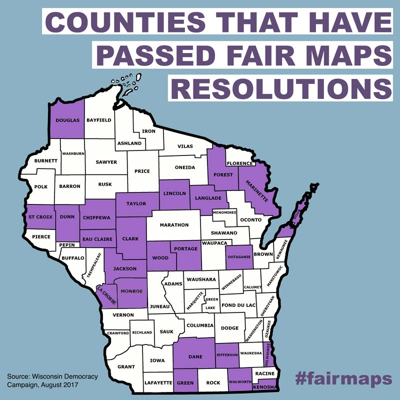 Counties That Have Passed Fair Maps Resolutions In Purple