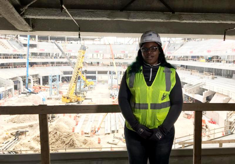 LaResha Love, MPS Student and Youth Apprenticeship program participant, working on the new Bucks Arena with YA partner, Mortenson Construction. Photo from MPS.