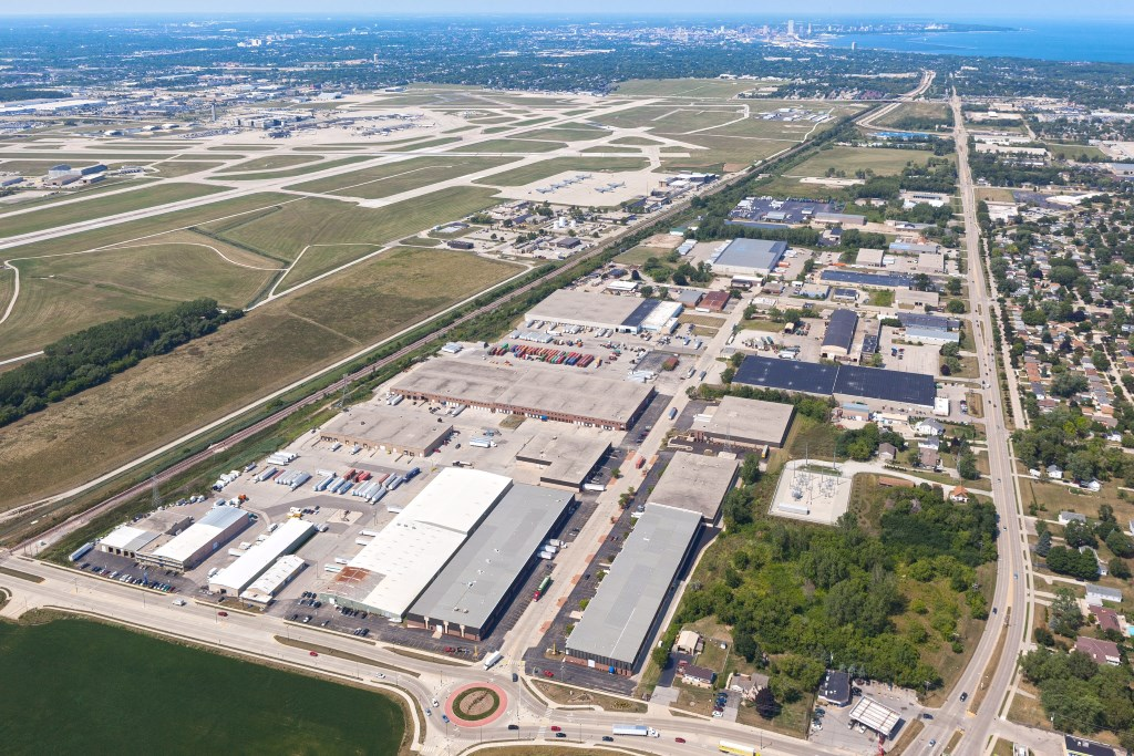 Ten building, 879,704 square foot Mitchell Industrial Park located near the intersection of College Avenue and Pennsylvania Avenue in Cudahy, Wisconsin.Photo courtesy of Colliers International.