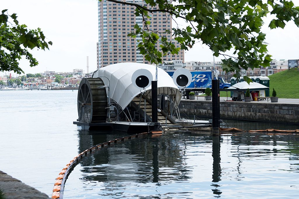 Mr. Trash Wheel. Photo by Matthew Bellemare (Mr. Trash Wheel) [CC BY-SA 2.0 (http://creativecommons.org/licenses/by-sa/2.0)], via Wikimedia Commons.