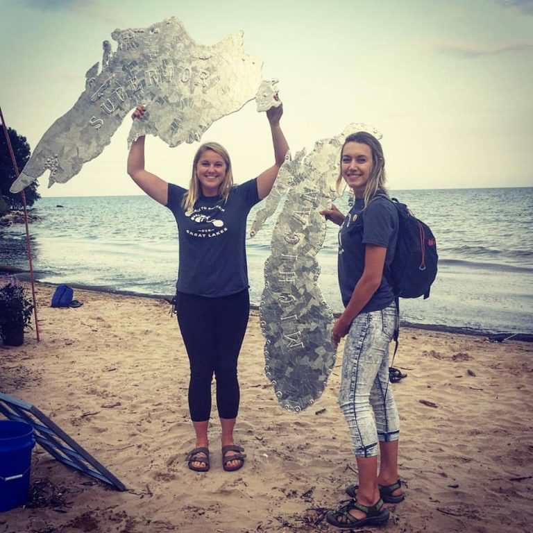 Alyssa Armbruster, left, and Julia Robson on Bradford Beach. Photo by Chris Groff.