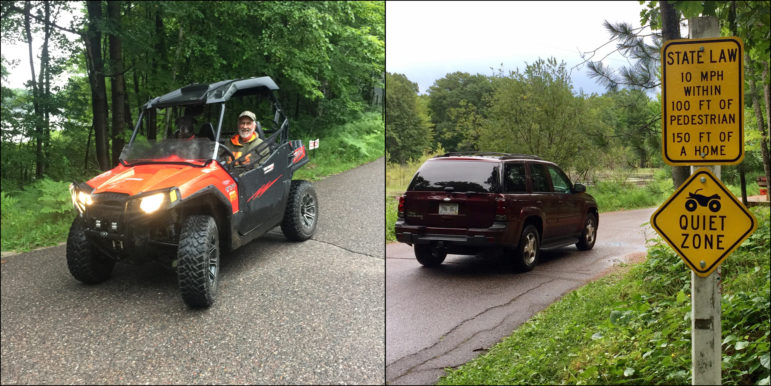 Yogi Antoniewicz drives his utility terrain vehicle on a designated route for all-terrain vehicles in the town of Upham in Langlade County (left). All-terrain vehicle enthusiasts have pushed communities in Wisconsin to allow their use on designated roadways. Photos taken Aug. 3, 2017 in Langlade County, Wis. Photos by Mary Matthias of the Wisconsin Center for Investigative Journalism.
