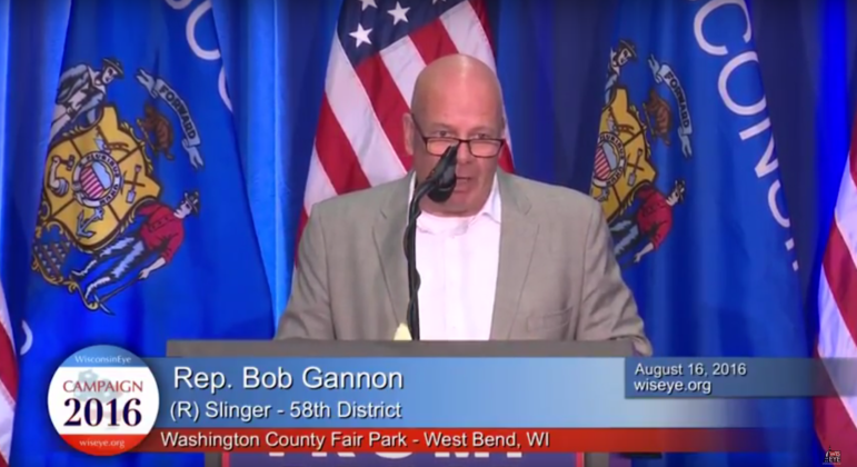 Republican state Rep. Bob Gannon has co-sponsored a controversial bill that would penalize so-called sanctuary communities in Wisconsin. He is seen here in a 2016 WisconsinEye video from the Washington County Fair Park in West Bend, Wis. Photo from WisconsinEye.