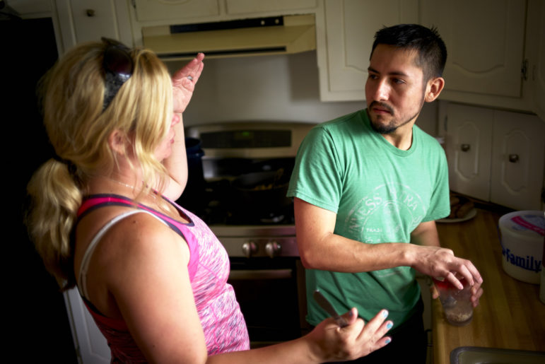 Together, Manuel Estrada and his wife, Jennifer, organize their Manitowoc, Wis., community around farmworker advocacy. Photo by Darren Hauck for Reveal.