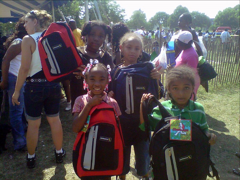 Kids show off their new backpacks at the Back-to-School Festival at King Park, Aug. 12, from 11:30 a.m.–6 p.m. Photo from Milwaukee County Parks.