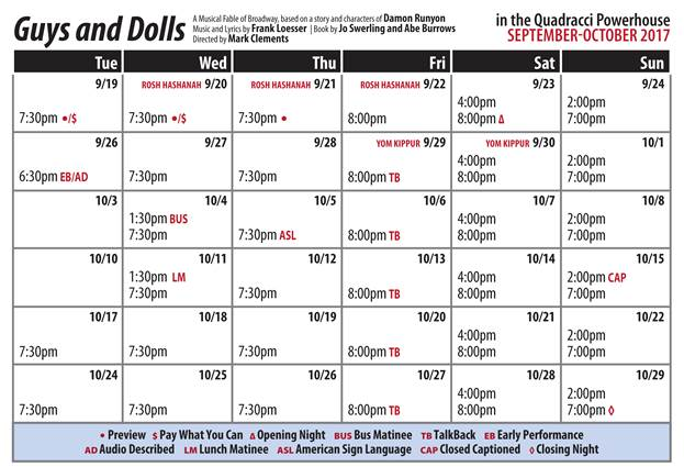 Guys and Dolls Public Performance Calendar