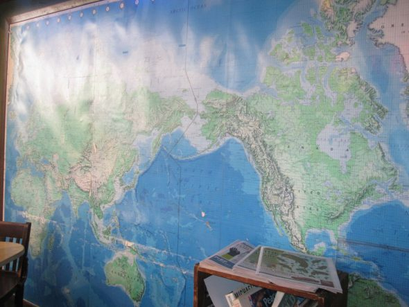 Defense Department map of the world. Photo by Michael Horne.