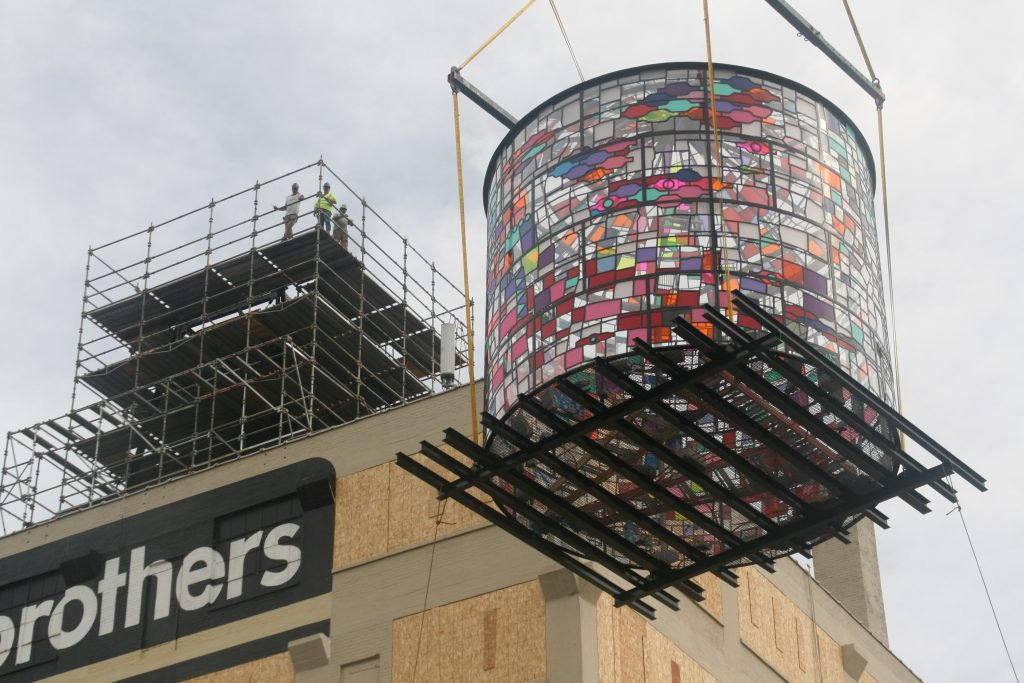 Coakley Brothers Water Tower being lifted into place. Photo by Jeramey Jannene