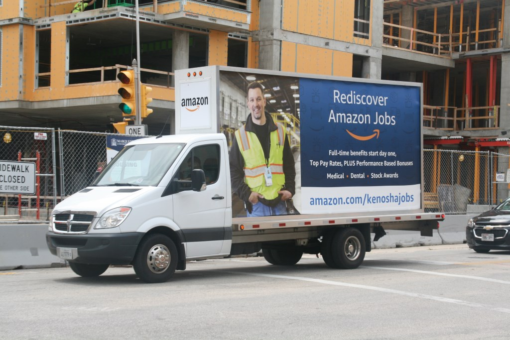Mobile Amazon billboard. Photo by Jeramey Jannene.
