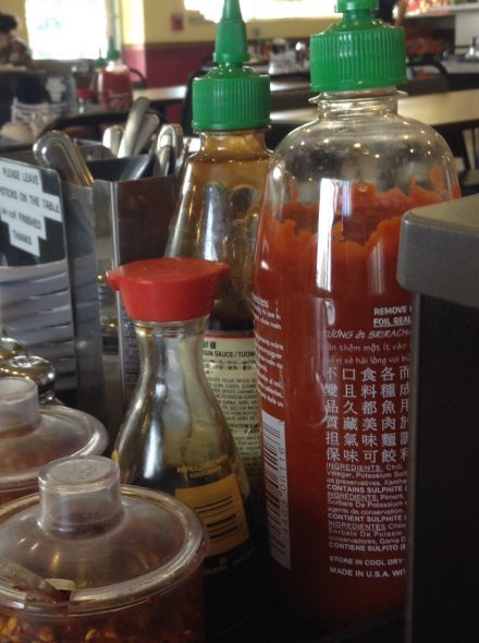 Array of condiments. Photo by Cari Taylor-Carlson.