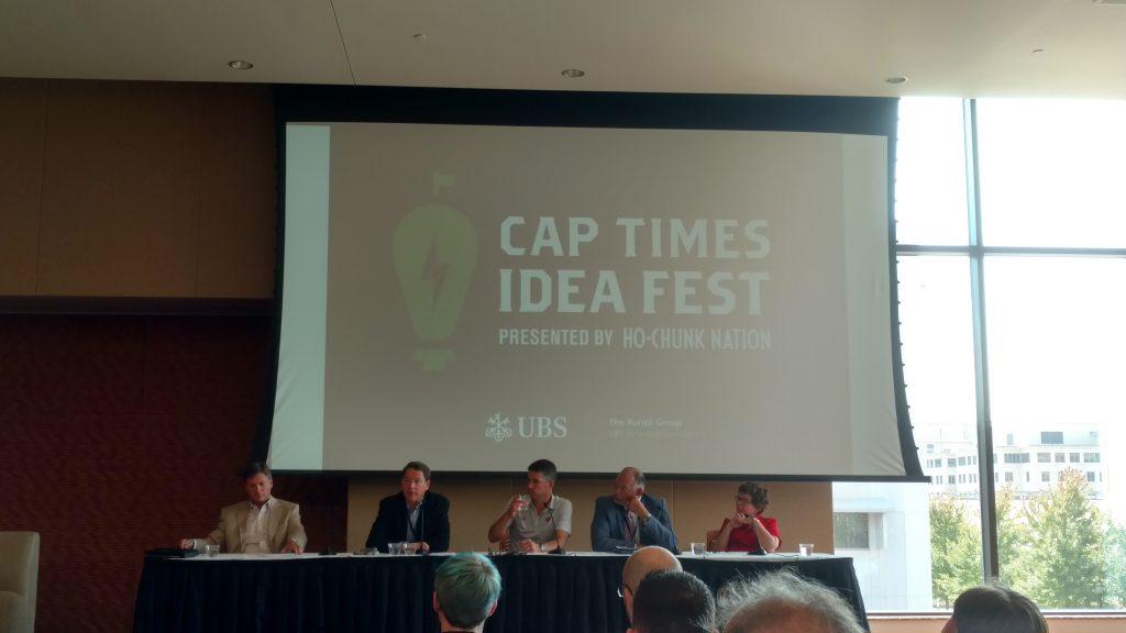 Kurt Bauer, WMC; Brian Birk, Sun Mountain Capital; Kevin Conroy, Exact Sciences; Jack Daniels III, Madison College; Rebecca Blank, UW-Madison. Photo by Kenneth Smith.