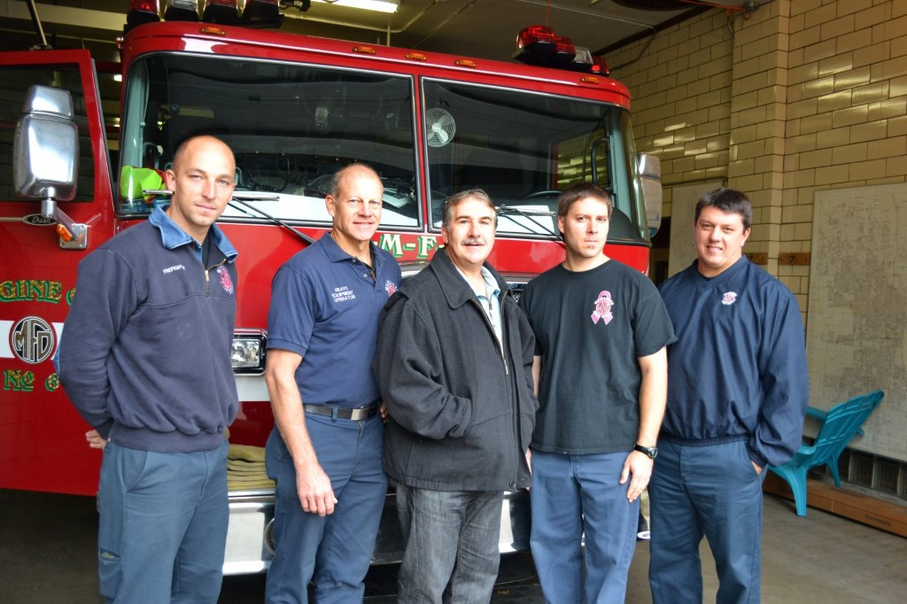Brady Street Fire House Firemen- from the left- Pat McGarry, Scott Vilter, Frank Alioto, Rick Hawthorne, Mike Bongiorno. Photo taken October 9th, 2012 by Grace Fuhr.