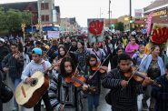 Musical groups perform in support of Dreamers on South Cesar Chavez Drive. (Photo by Emmy Yates)