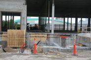 Arena visible through Milwaukee Brewing construction. Photo by Jeramey Jannene.