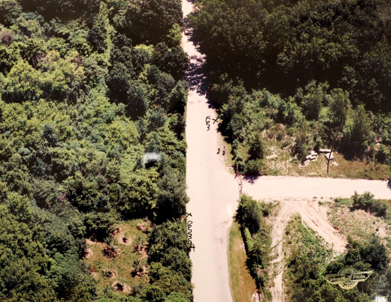 An aeriel view of Plank Rd., where Shanna Van Dyn Hoven was murdered near a gravel quarry. Two men, Ken Hudson and David Carnot, say they came across Van Dyn Hoven after she was stabbed. Hudson was convicted in the murder. (Exhibit from Ken Hudson trial)