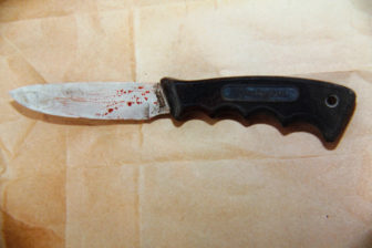 The knife that prosecutors say Hudson used in the murder of Shanna Van Dyn Hoven. Hudson claims that the knife, which was in his truck, was removed from its packaging, smeared with her blood and planted on the floor. (Outagamie County Sheriff's Department)
