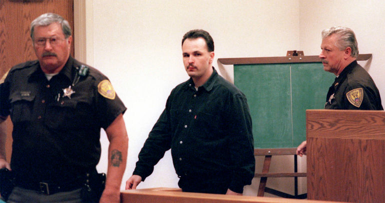 Ken Hudson, center, enters an Outagamie County courtroom in Appleton, Wis., on March 9, 2001, to hear the jury's verdict following his murder trial. Hudson was found guilty of first-degree intentional homicide in the murder of Shanna Van Dyn Hoven. (Dan Powers / USA TODAY NETWORK-Wisconsin)