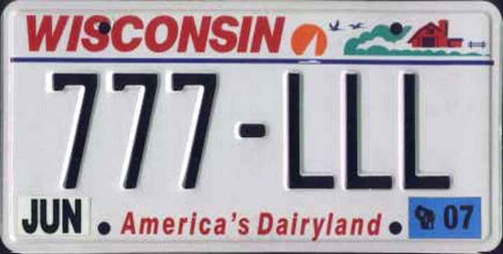 2007 Wisconsin License Plate. Photo is in the Public Domain.