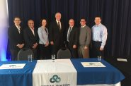Ald. Jim Bohl, Ghassan Korban, Jennifer Gonda, Mayor Tom Barrett, Mayor Shawn Reilly, Ald. Aaron Perry and Dan Duchniak. Photo by Jeramey Jannene.