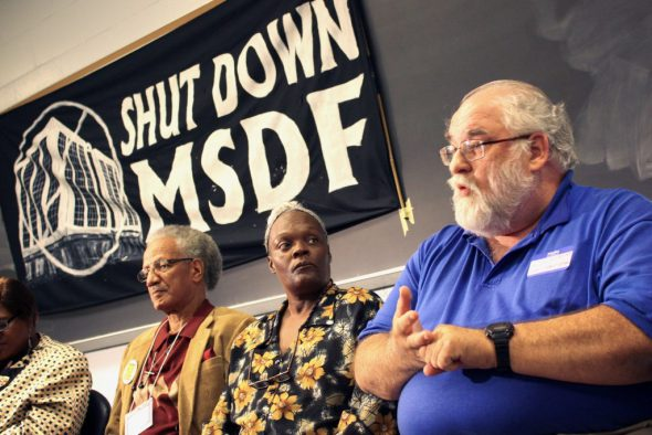 Rob Schreiber (right) speaks about his experience with MSDF as Sharyl McFarland (middle) and William Harrell (left) look on. Photo by Jabril Faraj.