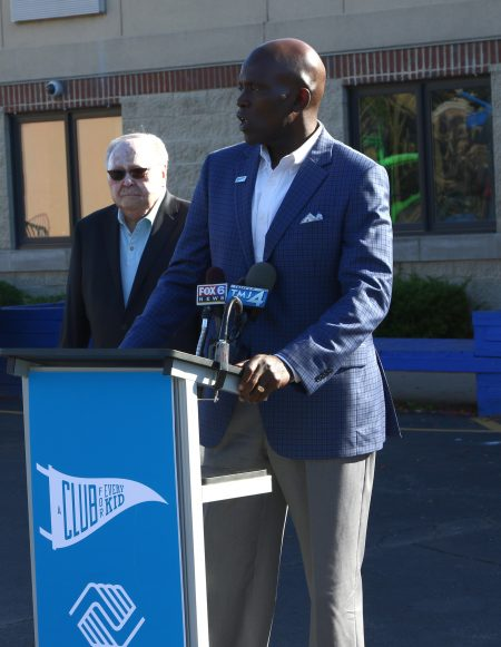 Vincent Lyles, president and CEO of the Boys & Girls Clubs of Greater Milwaukee, announces the reopening of the Daniels-Mardak Club. Photo by Leah Harris.