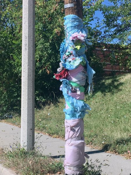 A memorial on a utility pole near 32nd and Burleigh streets. Photo by Elizabeth Baker.
