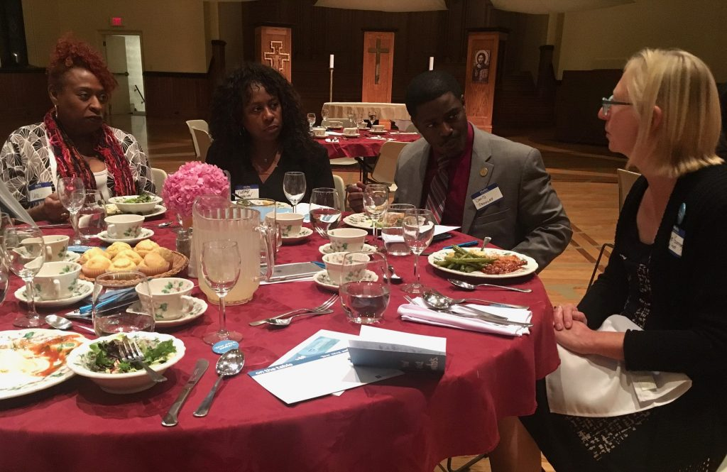 Una Van Duvall, Yvette Mason, State Rep. David Crowley and Jonnie Guernsey share dinner and conversation at the Calvary Presbyterian Church On the Table event. Photo by Elizabeth Baker.