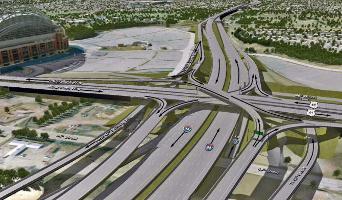 I-94 Expansion rendering from the project proposed in 2015. Rendering from WisDOT.