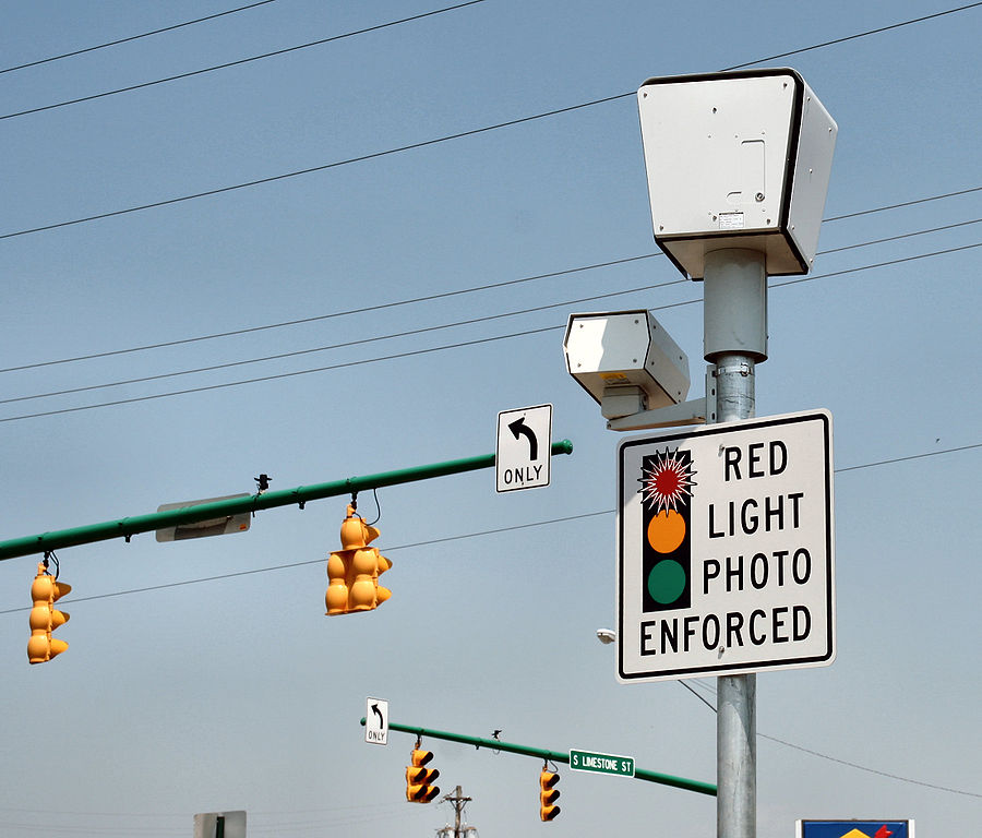 Red light camera system. Photo is in the Public Domain.
