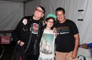 Glenn Aveni with son Bobby and Rick Nielsen from Cheap Trick at the Les Paul 100th Anniversary Music Festival. Photo by Erol Reyal ©.