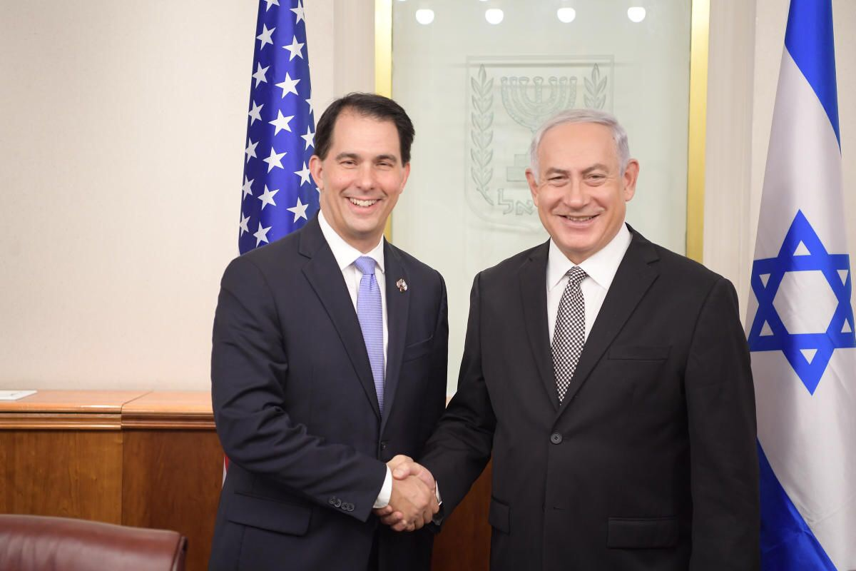 Governor Scott Walker with Prime Minister Benjamin Netanyahu. Photo from the State of Wisconsin.
