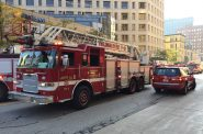Numerous fire department vehicles respond to a call. Photo by Dave Reid.
