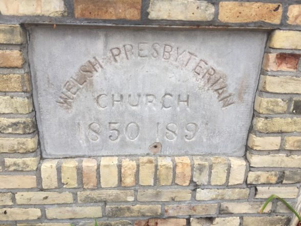 Welsh Presbyterian Church sign. Photo by Jeramey Jannene.