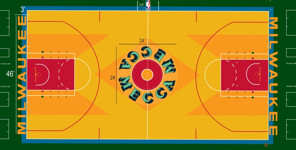 Bucks Replicate Famed MECCA Court for 'Return to the MECCA' Game on Oct. 26