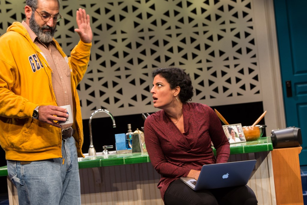 Milwaukee Repertory Theater presents The Who & The What in the Stiemke Studio from September 27 to November 5, 2017. Left to Right: Brian Abraham and Soraya Broukhim. Photo by Tony Duvall.