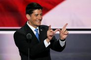 """U.S. House Speaker Paul Ryan of Wisconsin gives the """"W"""" hand sign at the Republican National Convention on July 19, 2016. Several major corporations and trade groups secretly bankrolled a hideaway for lawmakers at the convention for use by Republican lawmakers, including Ryan, records show. Photo by Alex Wong/Getty Images."""