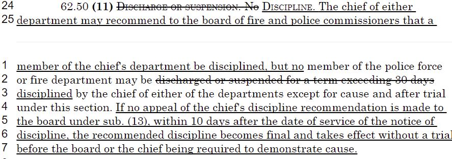 Language in the bill would keep firefighters and police officers accused of gross wrongdoing on the job.
