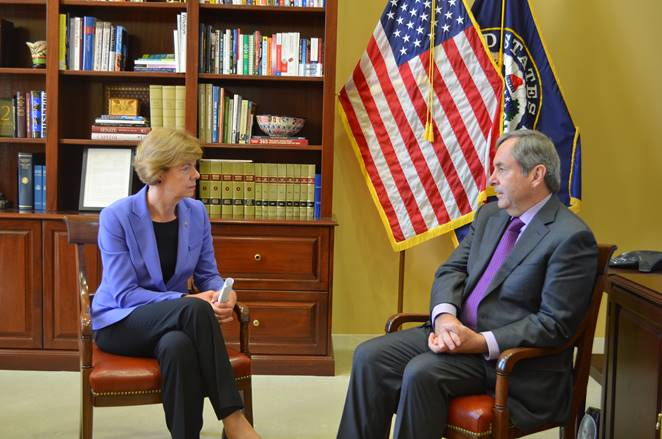 U.S. Senator Tammy Baldwin meets with Ambassador MacNaughton on October 18, 2017. Photo courtesy of the Office of Senator Baldwin.