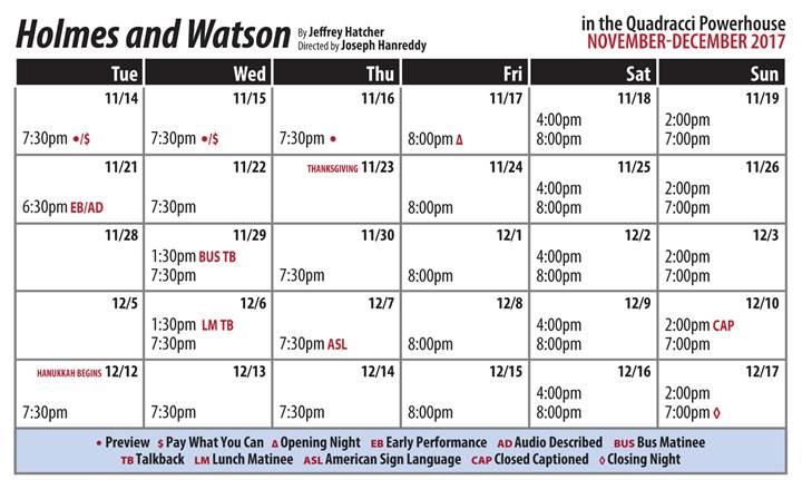 Holmes and Watson Public Performance Calendar