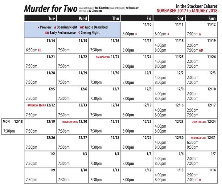 Murder for Two Public Performance Calendar