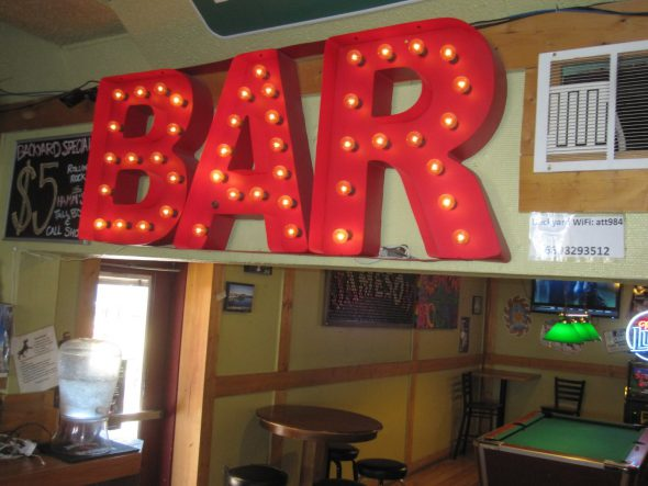 BAR sign. Photo by Michael Horne.