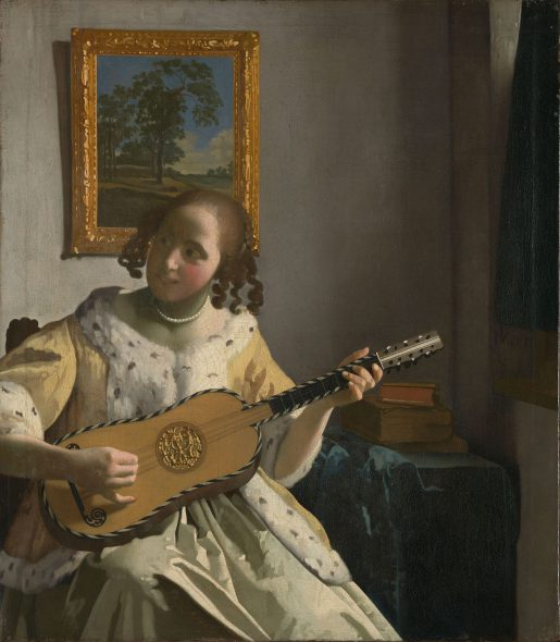 Spanish Baroque Guitar - Painting by Johannes Vemeer.