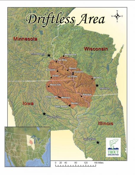 A map of the Driftless Area. Image from Trout Unlimited.