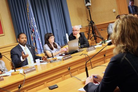 Ashanti Hamilton (left) addresses FPC Executive Director MaryNell Regan during a September Hearing & Rules Committee hearing. Photo by Jabril Faraj.