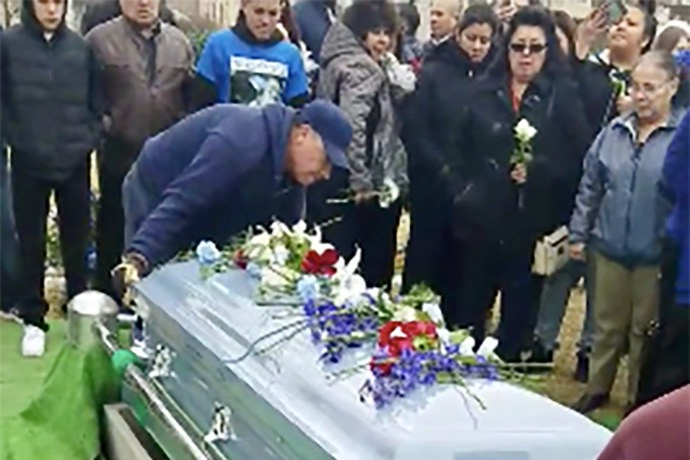 """The burial of Thomas """"TJ"""" Rivas, one of 260 individuals to die of opioid overdoses in Milwaukee County in 2017, was posted on the MKE Heroin Diaries Facebook page. Screenshot from Facebook."""