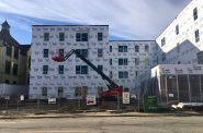 The Milwaukee Common Council Housing Trust Fund is helping fund affordable units in The Griot apartments, currently being built on North Avenue and 4th Street, just next to the Historic Garfield Apartments. Photo by Elizabeth Baker.
