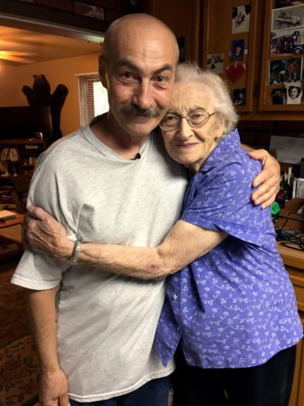 Richard Beranek is pictured with his mother at her home in Junction City, Wis., after his release from prison on June 23, 2017. The FBI has acknowledged that its analysis of hair found at the scene of a rural Stoughton, Wis., sexual assault was flawed. DNA testing showed the hair was not Beranek's. He had spent 27 years in prison. Photo courtesy of Keith Findley / Wisconsin Innocence Project