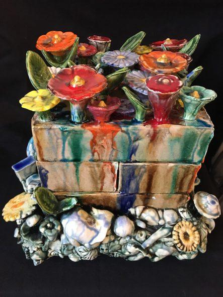 Brick Flower Ceramic by Craig Clifford. Photo courtesy of the Portrait Society.