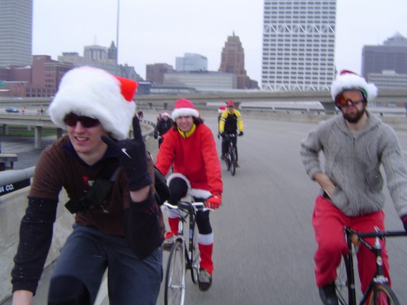 A photo from an early Santa Cycle Rampage that went over the Hoan Bridge. We've grown a lot since those early halcyon days, and we are completely legal and insured now too!
