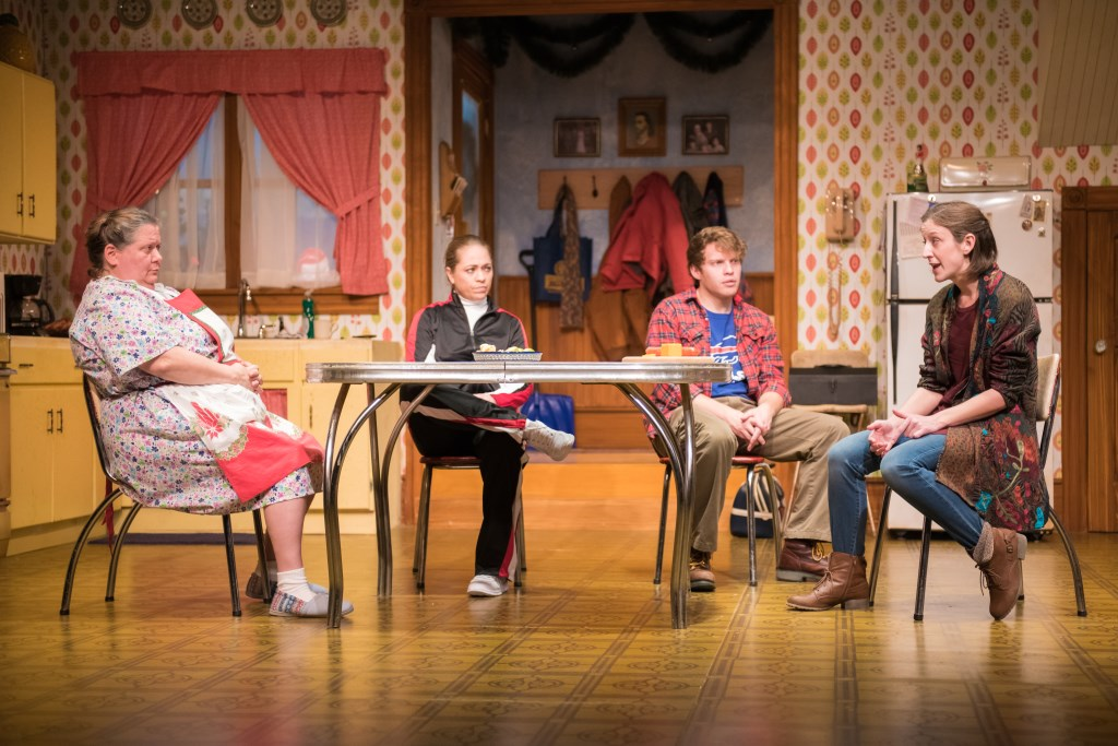 L-R: Raeleen McMillion as Clara Nowak, Greta Wohlrabe as Beverly Nowak, Josh Krause as Jimmy Nowak, Kat Wodtke as Ruth Nowak. Photo by Paul Ruffolo.